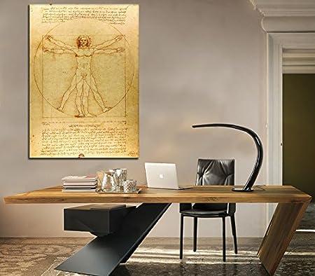 Leonardo da Vinci Quadro Stampa su Tela Canvas 50 X 70 Cm Uomo Vitruviano Giallobus