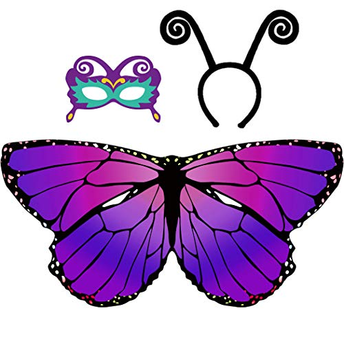Kids Butterfly Wings for Girls Dress Up Costume with Headband Mask Party Gifts (Purple)