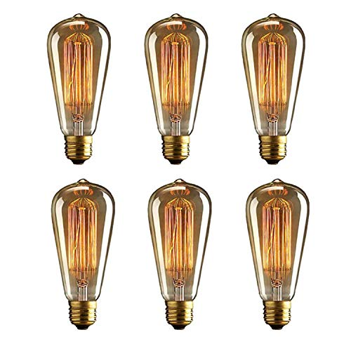 - Vintage 40W ST64 Edison Dimmable Light Bulbs Squirrel Cage Filament with 2700K Soft Warm White Old Fashioned Light Bulbs 230 Lumens Retro Light Bulbs with E26 Brass Base (Pack of 6)