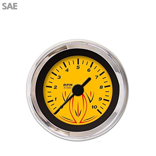 Pinstripe Yellow Tachometer Gauge 3018 Aurora Instruments GAR225ZEXIABAC