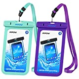 Mpow Universal Waterproof Case, IPX8 Waterproof Phone Pouch Dry Bag for iPhone X/8/8plus/7/7plus/6s/6/6s plus Samsung galaxy s8/s7 Google Pixel HTC10 (Blue,Purple 2-Pack)