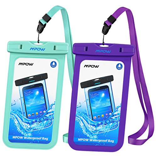 Mpow Universal Waterproof Case, IPX8 Waterproof Phone Pouch Dry Bag Compatible for iPhone X/8/8plus/7/7plus/6s/6/6s Plus Galaxy s8/s7 Google Pixel HTC10 (Blue+Purple 2-Pack)