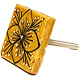 Lovely SQUARE Flower CERAMIC Door Knobs / Drawer Pulls from INDIA. SET of 4. (3101172) by Icarus