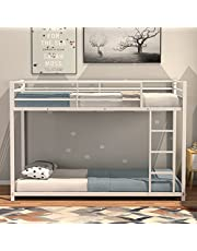 DORTALA Metal Bunk Bed, Twin Over Loft Bunk Bed with Guardrail & Ladder, Heavy-Duty Iron Bed Frame for Kids & Adults, Twins Loft Bed for Frame Dormitory & Multiple-Child Family