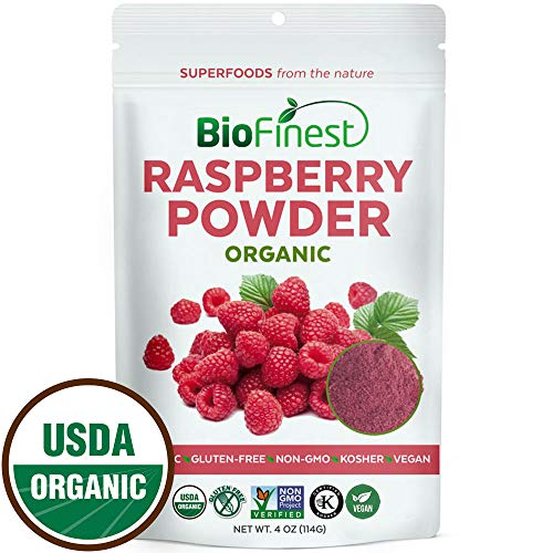 Biofinest Raspberry Juice Powder - 100% Pure Freeze-Dried Antioxidants Superfood - USDA Organic Vegan Raw Non-GMO - Boost Digestion Weight Loss - for Smoothie Beverage Blend (4 oz Resealable Bag) by BioFinest
