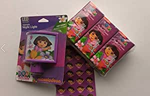 Dora Night Light LED Automatic ~ Stickers ~ Kleenex ~ Tissue ~ Nickelodeon ~ Get Well Pack