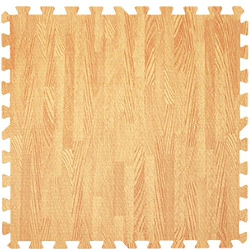 Get Rung Oak Woodgrain Fitness Mat with Interlocking Foam Tiles for Gym Flooring. Excellent for Pilates, Yoga, Aerobic Cardio Work Outs and Kids Playrooms. Perfect Exercise Mat(WOOD, 168SQFT)