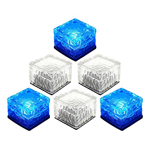 - ElementDigital Solar LED Brick Light Ice Cube Path Crystal Landscape Garden Lamp Waterproof Glass Brick Lights Solar LED Paver Bricks Christmas Xmas Outdoor Decoration 6 Pack (Blue)