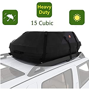 15 Cubic Feet Cargo Carrier Waterproof Car Top Carrier Waterproof Canvas Cargo Storage Roof Bag - On top of Car Bag