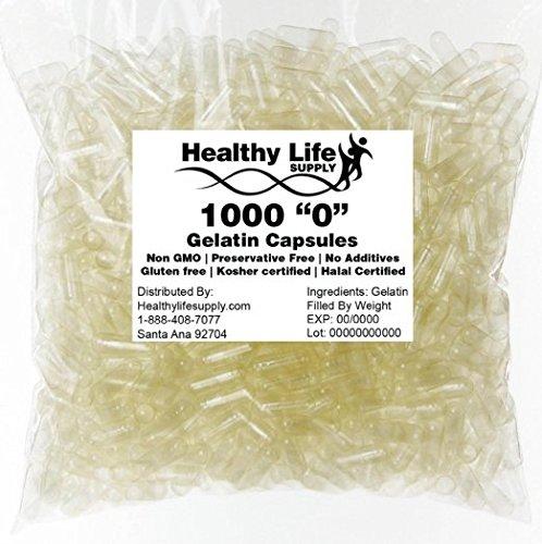 "Empty Gelatin Capsules - 1000 Size""0"" Bulk Wholesale Capsules"