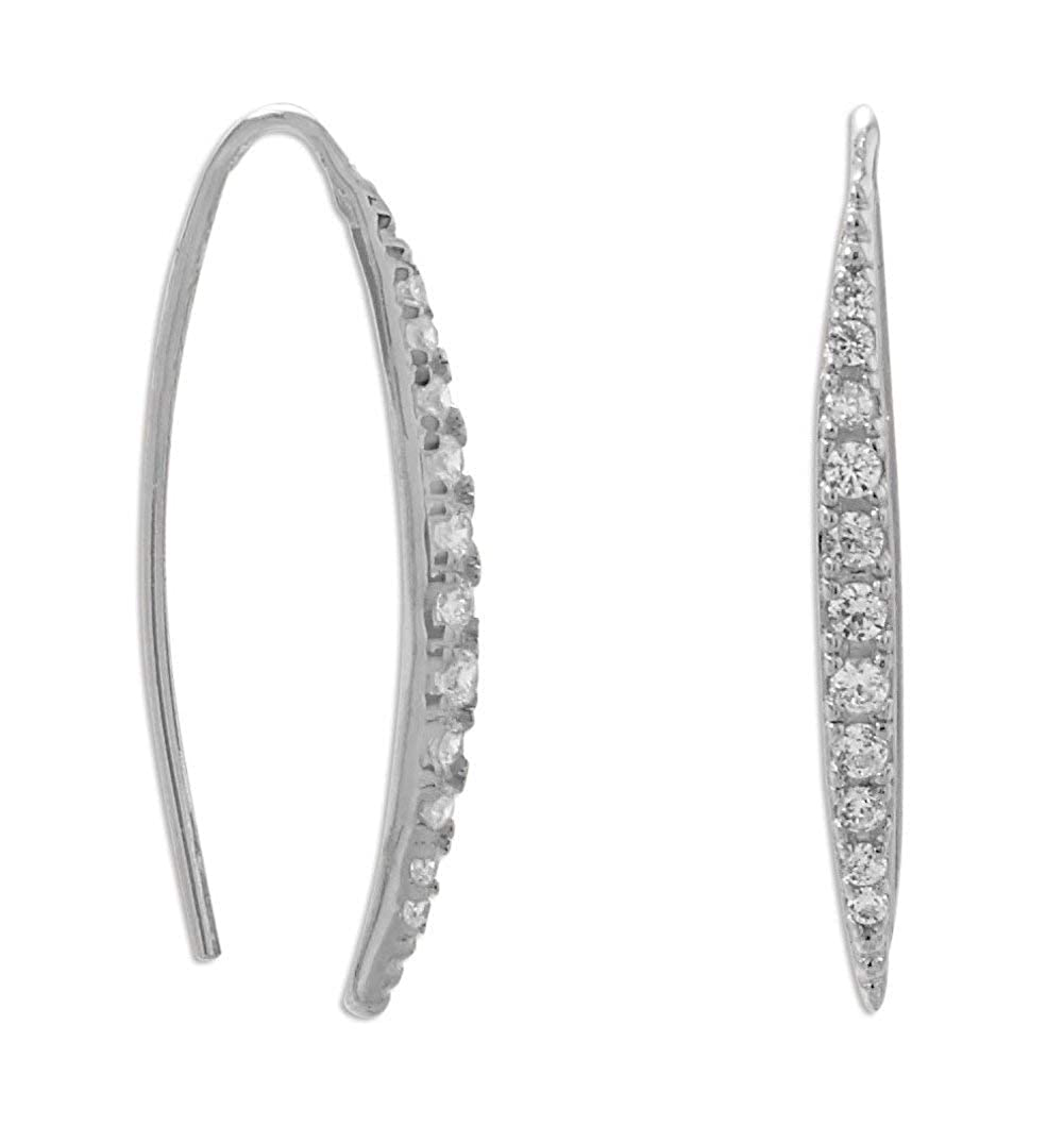 Rhodium Plated Sterling Silver Graduated 1.2-1.7mm Cubic Zirconia CZ Vertical Bar Wire Earrings 2.2x26.5mm