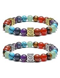Top Plaza Women Men 7 Chakra Bracelet 8MM Healing Crystals Natural Gemstone Beads Yoga Meditation Stretch Bracelets Copper OM Symbol Charm