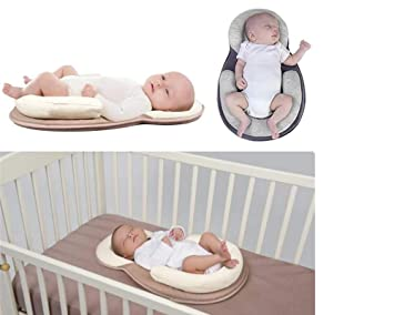 Mattress for Newborn Baby and Infant Age 0-12 Months,Anti-Rollover Cosy Positioning Pad Gray Baby Pillow,Head Support Portable Baby Bed