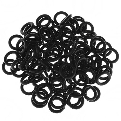 BodyJewelryOnline 100pcs Black Rubber Band Replacement O-Rings for Gauge Kit Ear Piercing (4 Gauge)