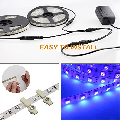 Onforu 33ft LED UV Black Light Strip Kit, 600 Units UV Lamp Beads, 12V Flexible Blacklight Fixtures, 10m LED Ribbon, Non-Waterproof for Indoor Fluorescent Dance Party, Stage Lighting, Body Paint by Onforu (Image #5)