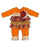 Peaches n Cream Baby Girls' Newborn Boutique Orange Lace Tiered Romper, 0-3 Months