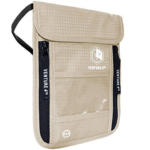 Hidden Billfold (VENTURE 4th Passport Holder Neck Pouch with RFID Blocking Hidden Neck Wallet (Beige))