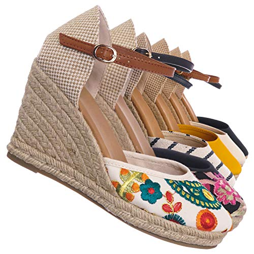 Embroidered Wedge - Aquapillar Espadrille High Heel Wedge - Women Summer Bohemian Jute Wrap Braid Beige Multi