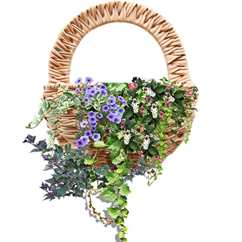 S WIDEN ELECTRIC Countryside Style Wall Hanging Flower Basket,Artificial Flower Pot,Simulated Rattan Braided Flower Vase Decor Indoor Outdoor Hanging Basket