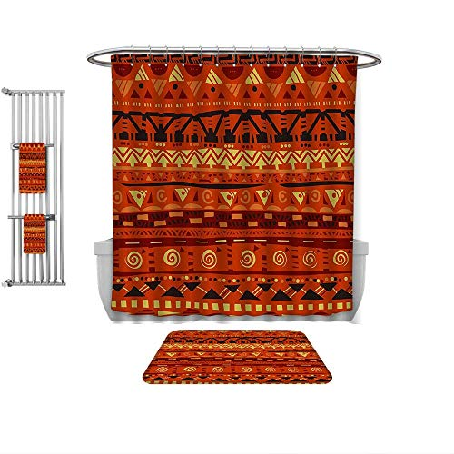 Home Decoration Tribal Antique African Folkloric Motifs with Primitive Tribal Art Ornaments Illustration ES Avocado Green, Custom Bathroom use-Multiple Sizes