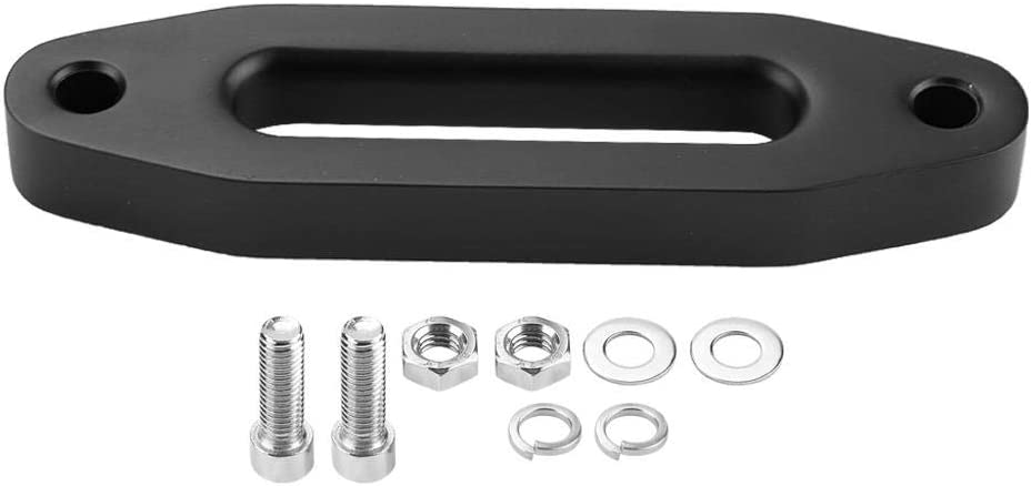 Senyar Hawse Fairlead,6inch Black Aluminum Hawse Fairlead for Synthetic Winch Rope Cable