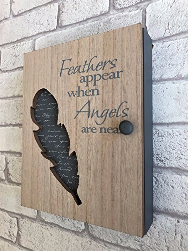 """Shabby White Wooden Vintage Style Tray  /""""Feathers Appear when Angels Are Near/"""""""