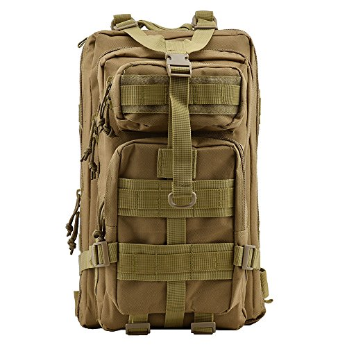 Military Tactical Rucksack, TOPQSC Waterproof 600D Oxford fabric Outdoor Tactical Bag Shoulder Expandable Hunting Tactical Daypack Sport Casual Backpack for Camping Trekking Travel Hunting Small Khaki