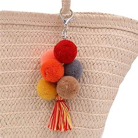 Cupcinu Llavero Borla Llavero étnico Llavero de Pompón Para Niñas Pequeño Colgante Llaveros de Peluche Diseño de Flores 5.5 * 17cm