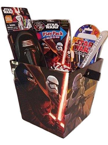 Kids Toddlers Star Wars Christmas Basket Darth Vader Pez Candy Dispenser Mini Lightsaber Toy Bundle Gift Set Boy Force Awakens (Adult Scary Darth Vader Costume)