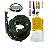 WeldingCity TIG Welding Torch WP-26FV-12R (Flexible/Gas-Valve Head) Complete Ready-to-Go Package for Miller Welder Air-Cool 12.5-foot Cable 200Amp w/Gift