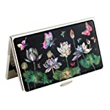 Mother of Pearl Metal White Lotus Flower Design Black Business Credit Name Id Card Holder Case Stainless Steel Engraved Slim Purse Pocket Cash Money Wallet