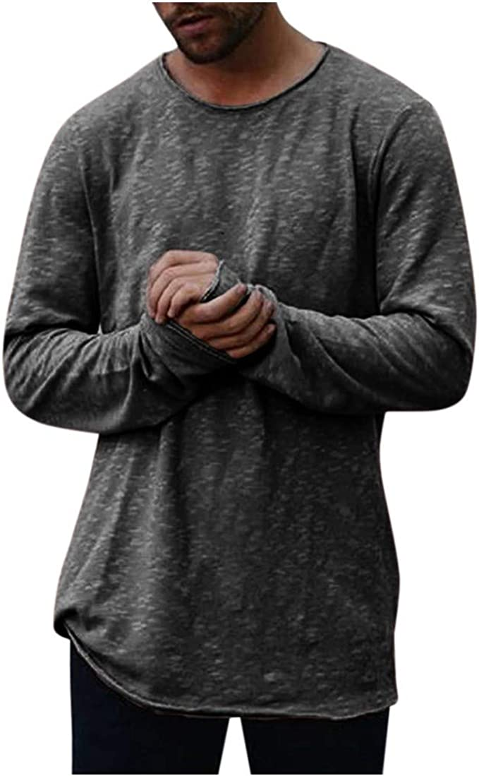 Big and Tall Mens T Shirts Long Sleeve Crew Neck Side Sleeve Pockets Breathable Tops Blouse Pullover Jumper Sweatshirts