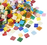 Mosaic Tiles - 1000-Pack Glass Mosaic Pieces for Home Decoration Craft Supplies, DIY Art Projects, Square Shaped, Multicolored, 0.38 x 0.38 x 0.1 inches