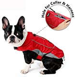 Cheap Morezi Premium Outdoor Sport Waterproof Dog Jacket Winter Warm Large Dog Coat with Harness Hole Red – L