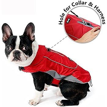Morezi Premium Outdoor Sport Waterproof Dog Jacket Winter Warm Large Dog Coat with Harness Hole Red - XS