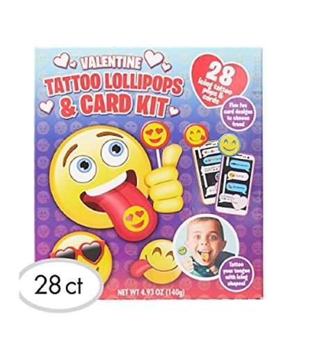 Emoji Valentine Exchange Cards with Tattoo Lollipops 28ct ()