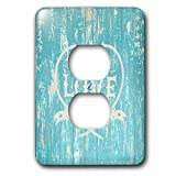 3dRose Uta Naumann Sayings and Typography - Love Is My Anchor- Beach Quote On Teal Wood-Maritime Summer Saying - Light Switch Covers - 2 plug outlet cover (lsp_266926_6)