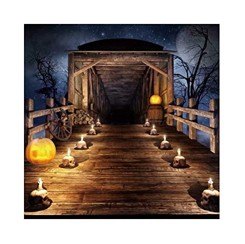 Leowefowa 10x10ft Halloween Night Backdrop Scary Wooden Bridge Pumpkins Lantern Candles Skulls Horror Moonlight Background Hallowmas Costume Party Decorations Nightmare Before Christmas Backdrops