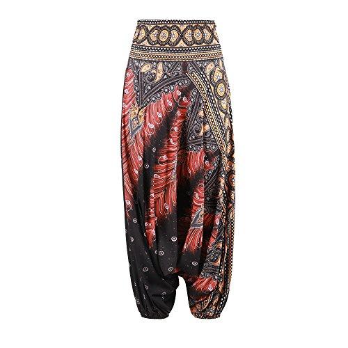 Harem Stampa Aladin Cavallo Vintage Palazzo Boho Nero Nuofengkudu Pantaloni Stile Baggy Pants Estivi Basso Yoga Beach Alta Thai Pavo Vita B7qxEp
