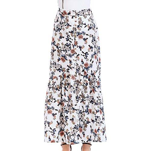 Blanc Femme Fleurs Plisse Maxi Sfit Jupe Y1nW18