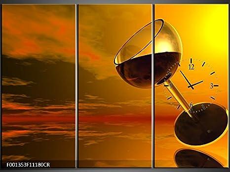 Orologi Da Parete In Tela : Tlg tela foto orologio da parete vino in cielo quadro tela