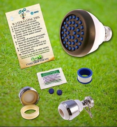 Super Saver Special Low Flow Shower Head | Kitchen & Bathroom Aerators & Toilet Leak Detecting Dye Tablet Low Flow Kit