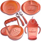 Dinnerware Feeding Set for Kids by Kidyme™ 7-in-1 Gift Set Includes, Food Mash Bowl, Serve Bowl, Plate, Cup, Fork & Spoon - Children Kitchenware Cutlery & Flatware for Babies, Toddlers