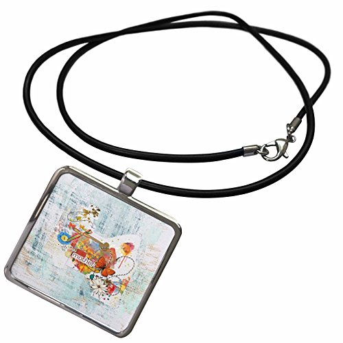- 3dRose Beverly Turner Mothers Day Design - Love Mother, Butterfly, Bow, Heart, Flower Abstract, Orange, Blue, Red - Necklace With Rectangle Pendant (ncl_280579_1)