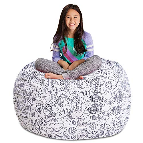 "Posh Stuffable Kids Stuffed Animal Storage Bean Bag Chair Cover - Childrens Toy Organizer, X-Large 48"" - Canvas Fun Creatures Coloring Fabric"