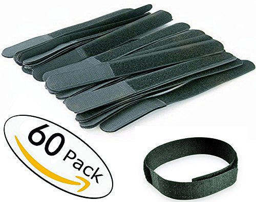8in Rope - 60Pack -8 Inch Cable Ties Reusable Fastening Wire Organizer Cord Rope Holder-Black