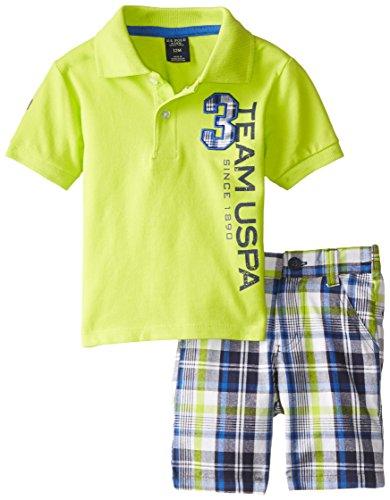 U.S. Polo Assn. Baby Boys' Team Polo and Plaid Short Set, Lime Lorry, 24 Months