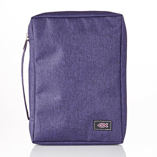 Canvas Bible Cover With Fish Symbol Appliqué, Purple, Medium