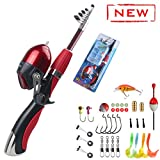 Kids Fishing Pole 55 inches Light Weight Durable Spincast Beginner Fishing Pole with Tackle Box Easy for Boys and Girls (Red Fishing Combo(for Age 4 and Older))