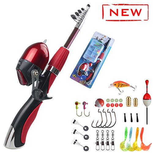 Kids Fishing Pole 55 inches Light Weight Durable Spincast Beginner Fishing Pole with Tackle Box Easy for Boys and Girls (Red Fishing Combo(for Age 4 and Older)) (Best Beginner Fishing Rod)